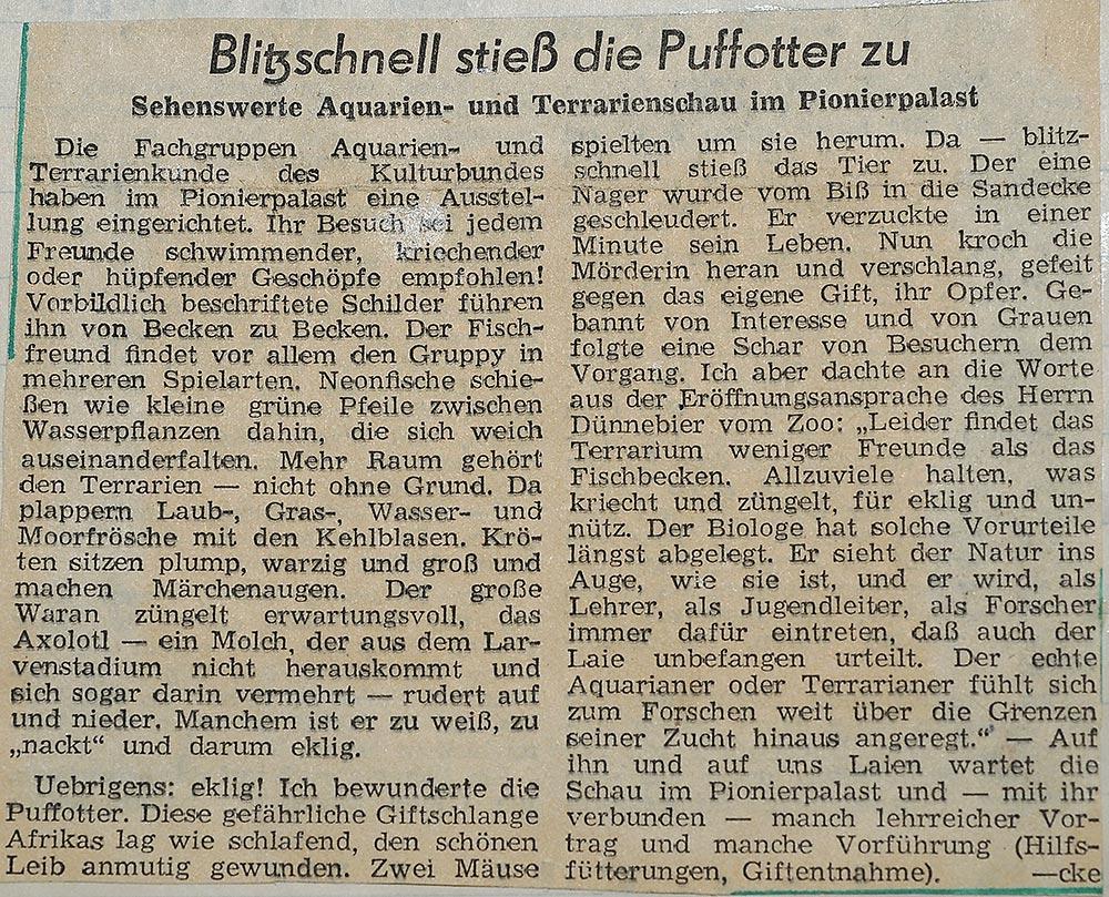 1. Dresdner Aquarien und Terrarienausstellung (1957), Zeitungsausschnitt