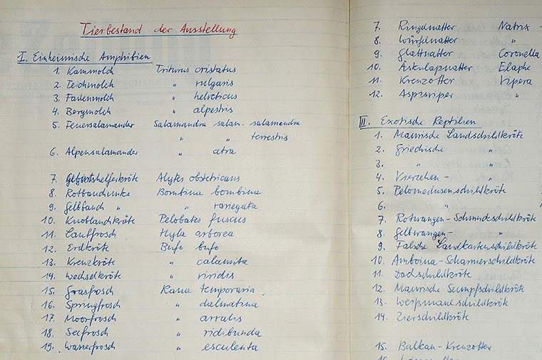1967: 1. Dresdner Terrarienschau, Tierarten