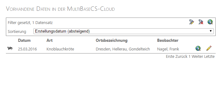 Bedienung MultiBaseCE Cloud, Filter