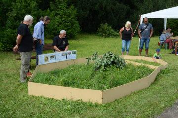 Besucher am Schildkröten-Freilandterrarium der DGHT Dresden beim Sommerfest im Botanischen Garten