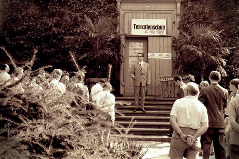 Fritz Jürgen Obst bei Eröffnung erste Terrarienausstellung in Pillnitz